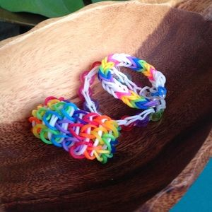 Loom bracelet rainbow beaded lot of 3